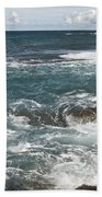 Waves Breaking On Shore  7918 Bath Towel