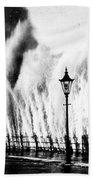 Waves Smashing Seawall, 1938 Bath Towel