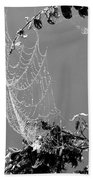Web In The Rain B-w Bath Towel
