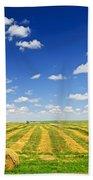 Wheat Farm Field At Harvest Bath Towel