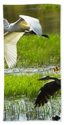 White And Grey Herons In Flight Bath Towel