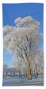 White Frost Tree Bath Towel