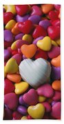 White Heart Candy Bath Towel