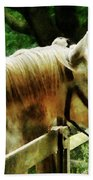 White Horse Closeup Bath Towel
