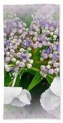 White Lace Cap Hydrangea Blossoms Bath Towel