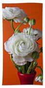 White Ranunculus Close Up In Red Vase Hand Towel