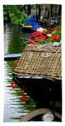 Wicker Bike Basket With Flowers Bath Towel
