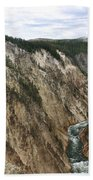 Wide View Of The Lower Falls In Yellowstone Bath Towel