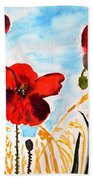 Wild Poppies Bath Towel