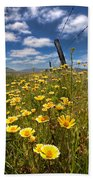 Wildflowers And Barbed Wire Bath Towel