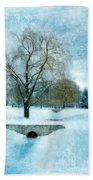Willow Trees By Stream In Winter Bath Towel