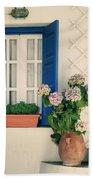 Window With Flowers Bath Towel