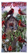 Winter Birdhouse Bath Towel