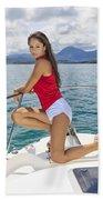 Woman Boating At Kaneohe Bath Towel