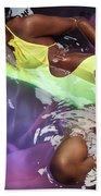 Woman In Swimsuit Lying In Water Bath Towel