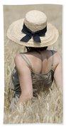 Woman On The Wheat Field Bath Towel