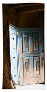 Wood Workers Door In Truchas New Mexico Bath Towel