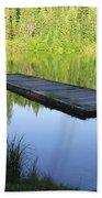 Wooden Dock On Lake Bath Towel