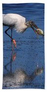 Woodstork Catches Fish Bath Towel