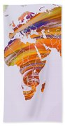 World Map Abstract Painted Bath Towel
