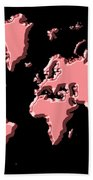 World Map Pink Bath Towel