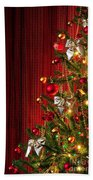 Xmas Tree On Red Bath Towel