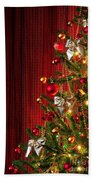 Xmas Tree On Red Hand Towel