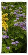 Yellow And Violet Flowers Bath Towel