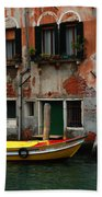 Yellow Boat Venice Italy Bath Towel