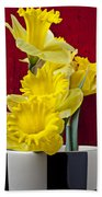 Yellow Daffodils In Checkered Vase Bath Towel