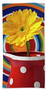 Yellow Daisy In Red Pitcher Bath Towel
