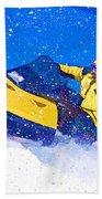 Yellow Snowmobile In Blizzard Bath Towel