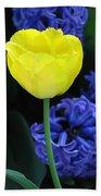 Yellow Tulip And Hyacinth Bath Towel