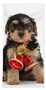 Yorkipoo Pup Wearing Christmas Bells Bath Towel