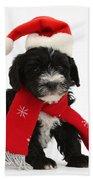 Yorkipoo Pup Wearing Christmas Hat Bath Towel