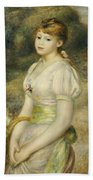 Young Girl With A Basket Of Flowers Bath Towel