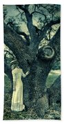 Young Lady In White By Tree Bath Towel