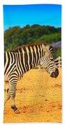 Zebra In The Grassland  Bath Towel