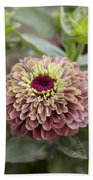 Zinnia Elegans Queen Red Lime Variety Bath Towel