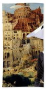 Galgo Espanol - Spanish Greyhound Art Canvas Print -the Tower Of Babel  Bath Towel