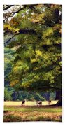 Landscape Under A Big Oak In Autumn Bath Towel