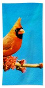 Male Northern Cardinal Perched On Tree Branch Bath Towel