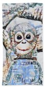 Monkey Rainbow Splattered Fragmented Blue Bath Towel