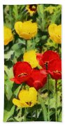 Spring Landscape With Tulips Bath Towel