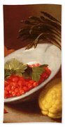 Still Life Of Raspberries Lemons And Asparagus  Bath Towel