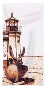 Vermilion Lighthouse Hand Towel