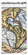 World Map, 1529 Bath Towel