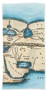 Strabo World Map, C20 A.d Bath Towel