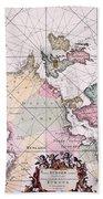 Map: European Coasts, 1715 Bath Towel