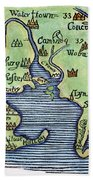 New England Map 1677 Bath Towel
